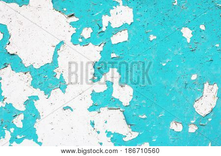 Old Wooden Background. Old Plaques Of Turquoise Color.