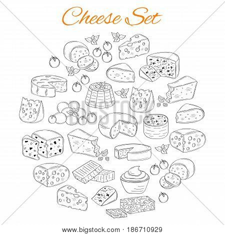 Vector set of various types of cheese, Mozzarella, Swiss Cheese, Gouda, Roquefort, Parmesan, Cheddar, Gorgonzola , Mascarpone, Brie, Camembert  hand drawn illustration isolated on white background