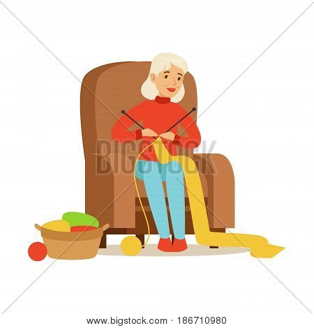 Grandmother knitting scarf sitting in a chair. Colorful character vector Illustration isolated on a white background