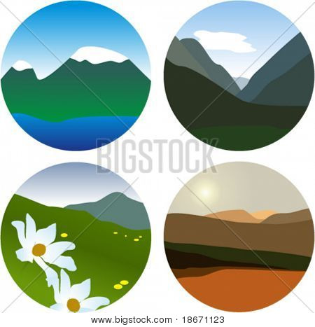 Set of small mauntains vector picture