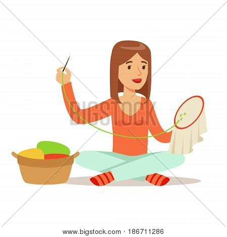 Young woman sitting on the floor and embroidering cross on the canvas. Craft hobby and profession colorful character vector Illustration isolated on a white background