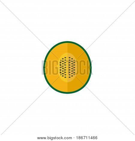 Flat Melon Element. Vector Illustration Of Flat Muskmelon Isolated On Clean Background. Can Be Used As Muskmelon, Melon And Cantaloupe Symbols.