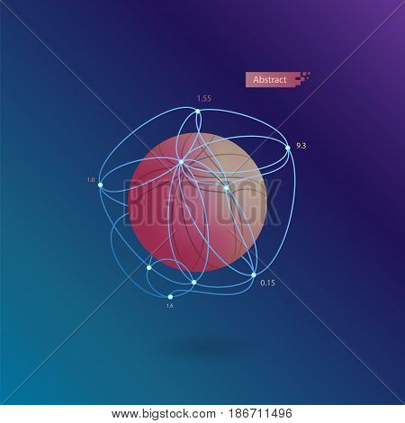 red abstract volumetric sphere in a blue grid on a dark blue background