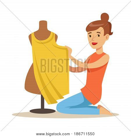 Young woman tailor sitting on the floor and sewing dress on a dressmakers dummy. Craft hobby and profession colorful character vector Illustration isolated on a white background