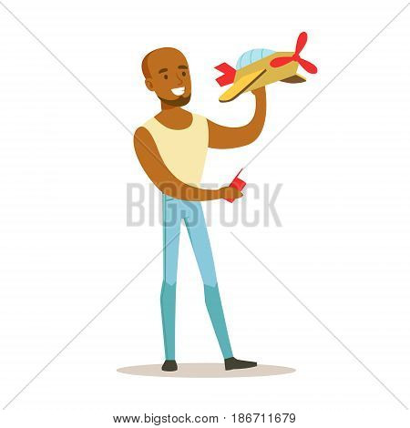 Young man launching radio controlled airplane. Colorful character vector Illustration isolated on a white background