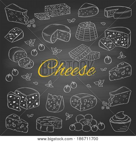 Vector set of various types of cheese, Mozzarella, Swiss Cheese, Gouda, Roquefort, Parmesan, Cheddar, Gorgonzola , Mascarpone, Brie, Camembert hand drawn illustration isolated on chalkboard background