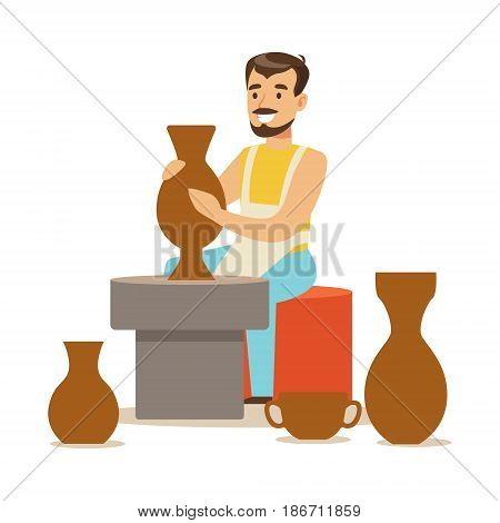 Young man potter making ceramic pot. Craft hobby and profession colorful character vector Illustration isolated on a white background