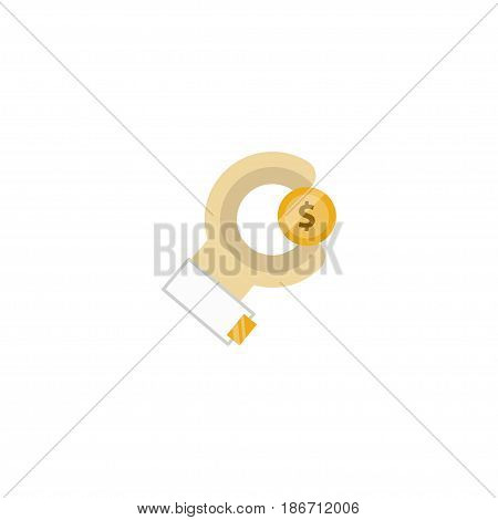 Flat Sponsor Element. Vector Illustration Of Flat Coin  Isolated On Clean Background. Can Be Used As Coin, Hand And Sponsor Symbols.