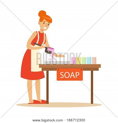 Happy young woman making homemade soap. Craft hobby and profession colorful character vector Illustration isolated on a white background