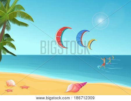 Vector illustration of three people with parachutes and surfs doing kiteboarding