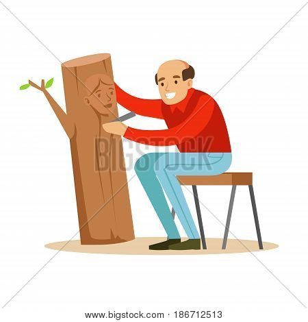 Craftsman is carving a portrait of a woman over a piece of trunk. Craft hobby and profession colorful character vector Illustration isolated on a white background