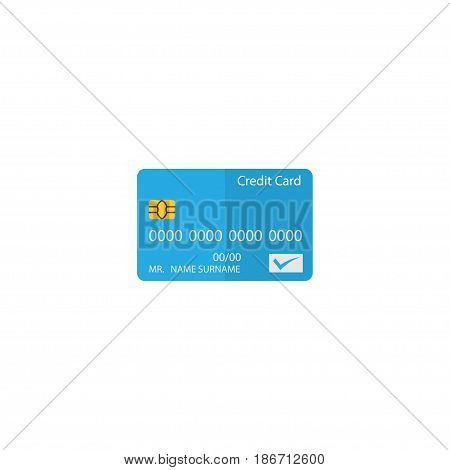 Flat Credit Card Element. Vector Illustration Of Flat Payment Isolated On Clean Background. Can Be Used As Credit, Card And Payment Symbols.