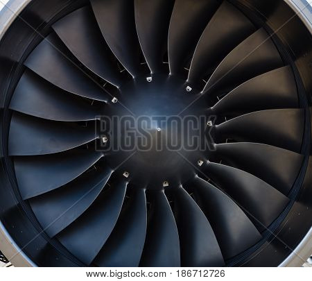 Detail of a modern jet engine. Close-up. Background.