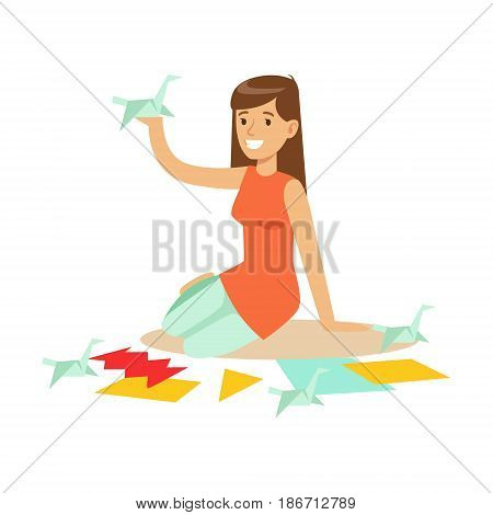 Cheerful young woman making origami cranes from colorful papper. Craft hobby and profession colorful character vector Illustration isolated on a white background