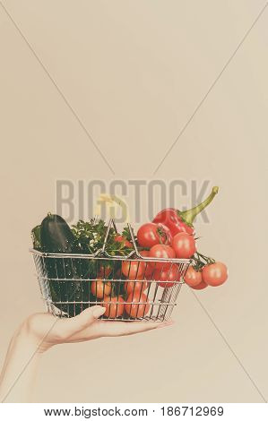 Hand Holds Shopping Cart With Vegetables
