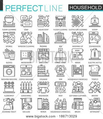 Household appliances outline concept symbols. Perfect thin line icons. Modern stroke linear style illustrations set