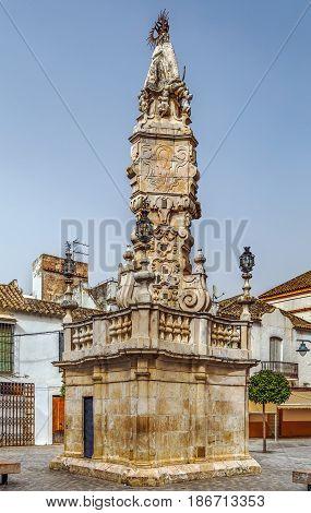 Monument Triunfo de la Virgen del Valle on Plaza de Santa Maria Ecija Spain