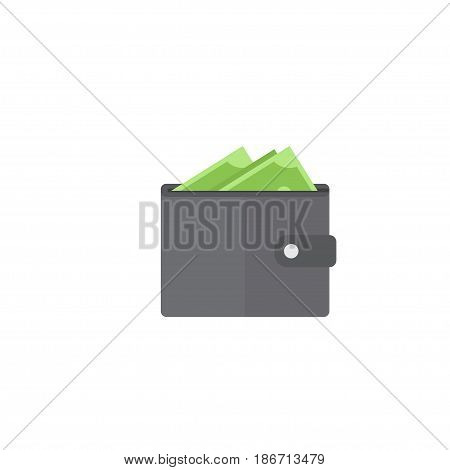 Flat Wallet Element. Vector Illustration Of Flat Billfold  Isolated On Clean Background. Can Be Used As Wallet, Purse And Billfold Symbols.