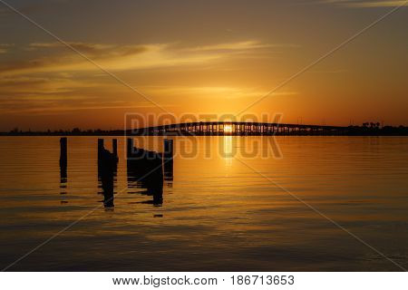 The Melbourne Causeway Bridge in the early morning