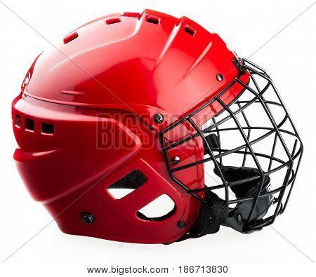 Helmet equipment hockey gear mask protecting isolated