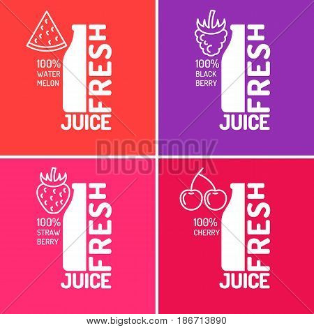 Set of posters fresh juice with blackberries, strawberries, watermelon and cherries. Vector illustration in flat minimalistic style