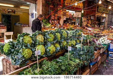 Palermo, Italy - October 14, 2009: Fresh Fish, Seafood, Vegetables And Fruit At A Vucciria Market