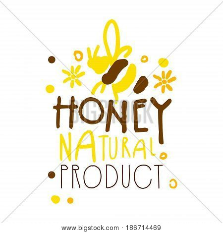 Honey natural product logo. Colorful hand drawn vector illustration for honey and apiary products