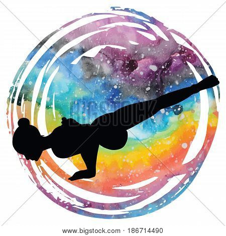 Women silhouette on galaxy astral background. Flying Pigeon yoga pose. Eka Pada Galavasana Vector illustration