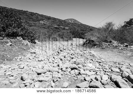 The dirt road strewn with large stones. The peninsula Kalydon. Crete. Greece. Black and white.