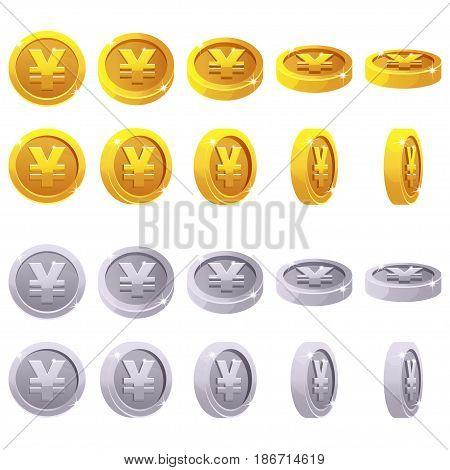 Cartoon set of 3D metallic yen coin yuan symbol, chinese money, vector animation game rotation