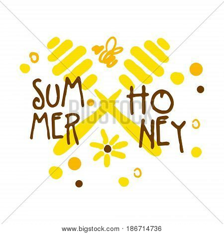 Summer honey logo, colorful hand drawn vector illustration for honey and apiary products