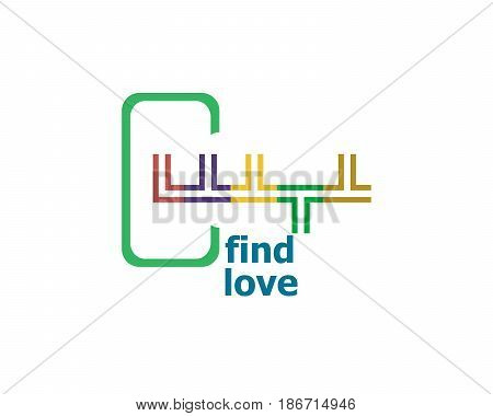 Text Find Love. Social Concept . Abstract Emblem, Design Concept, Element For Template.