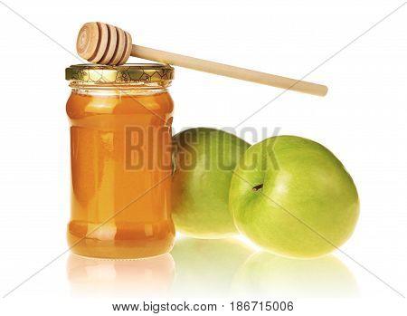 Honey green apples food fresh fruits fruit isolated on white honey dipper