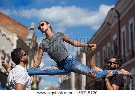 stretching exercises gymnastics sport active lifestyle summer activity beauty and fashion friends and relationship dominance and matriarchy people