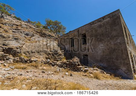 The ruins of the leper colony closed in the 50s on the ruins of a Venetian fortress on Spinalonga island. Crete. Greece.