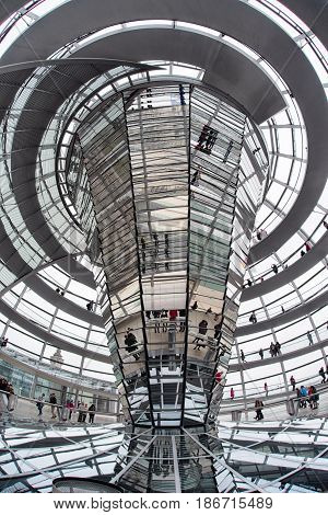 BERLIN GERMANY - APRIL 7: Interior of Reichstag dome on April 7 2017 in Berlin