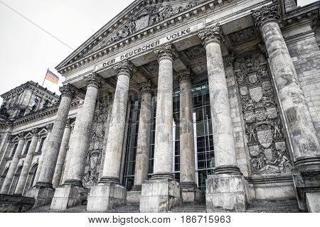 BERLIN GERMANY - APRIL 7: Reichstag building on April 7 2017 in Berlin