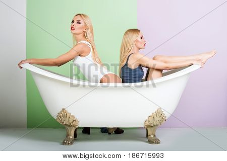 Young Couple Foreplay Lying In Tub, Intimacy Lovers, Sexy Women