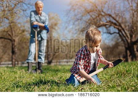 Rising generation. Focused chestnut haired boy taking care of nature and working with a grandfather in a country house yard