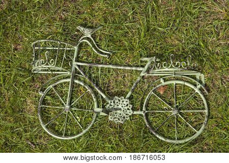 A metal bicycle decoration for the home