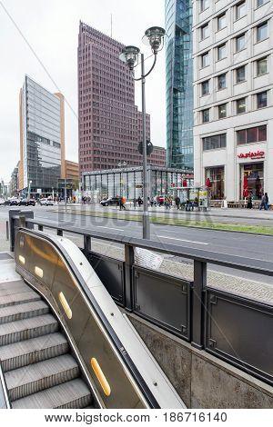 BERLIN GERMANY - APRIL 7: Escalator from subway at Potsdamer platz on April 7 2017 in Berlin