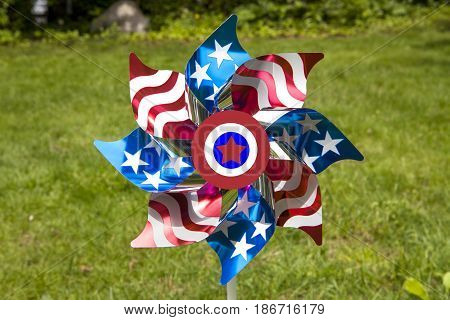 A patriotic pinwheel for the Fourth of July holiday