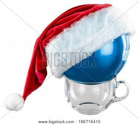 Christmas christmas cap blue santa's hat ball holiday glass