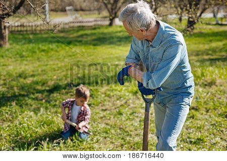 Next generation. Grandfather resting on a wooden shovel hand and looking at his little grandchild helping him in a garden and scooping the earth