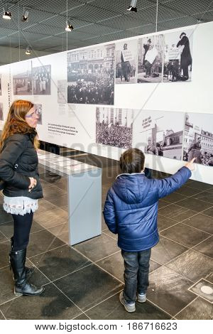 BERLIN GERMANY - APRIL 7: Visitors in museum Topography of Terror on April 7 2017 in Berlin