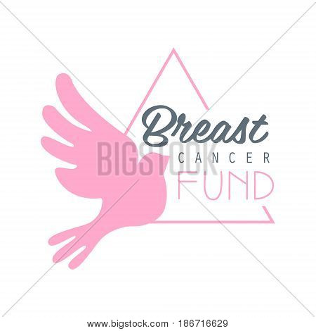 Breast cancer fund label. Vector illustration in pink colors badge for breast cancer awareness poster, card, banner