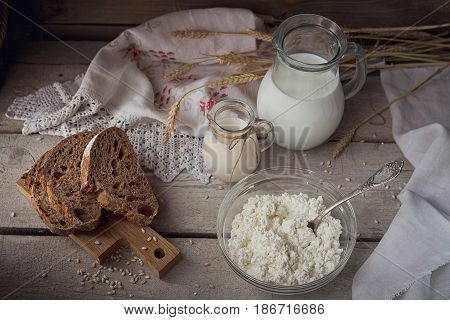 Fresh dairy products. Milk cottage cheese sour cream multigrain homemade bread and wheat on rustic wooden background. Organic farming dairy concept.