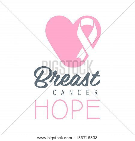 Breast cancer, hope label. Vector illustration in pink colors badge for breast cancer awareness poster, card, banner