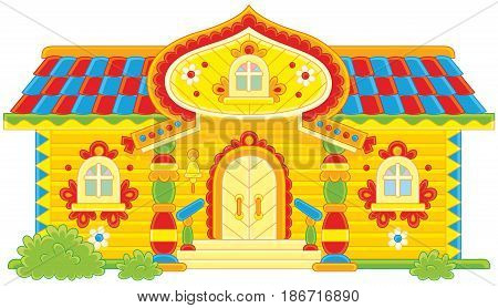 Colorfully decorated log cabin from a fairy tale