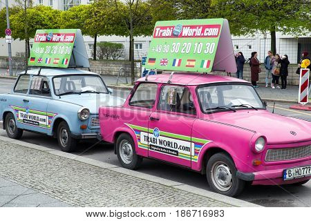 BERLIN GERMANY - APRIL 7: Trabant - iconic car from East Berlin on April 7 2017 in Berlin